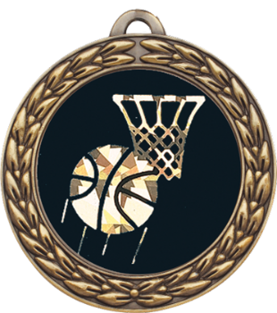 Black & Gold Basketball Medal